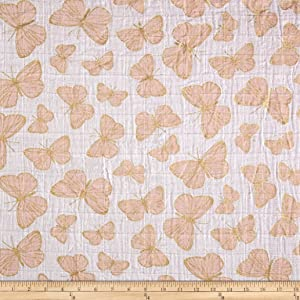 Shannon Fabrics Shannon Embrace Double Gauze Flutter Metallic Shell/Gold Fabric by The Yard