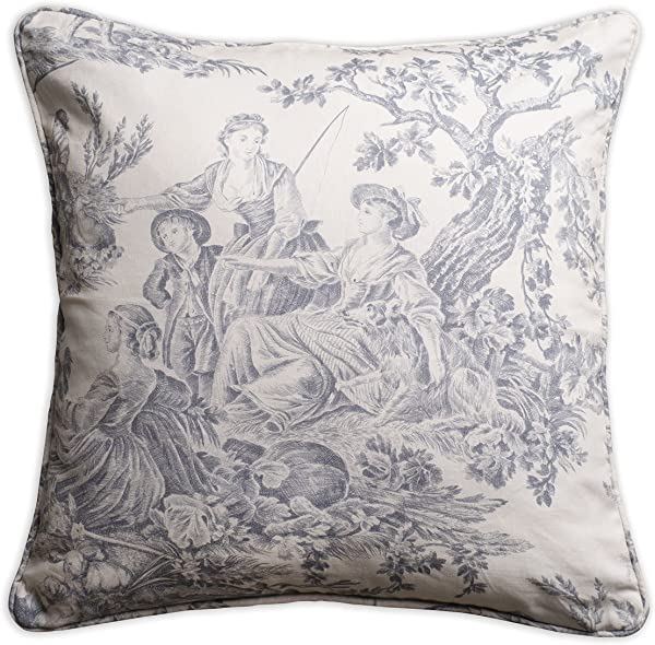 Maison D Hermine The Miller 100 Cotton Toile Paloma Gray Decorative Pillow Cover 18 Inch By 18 Inch