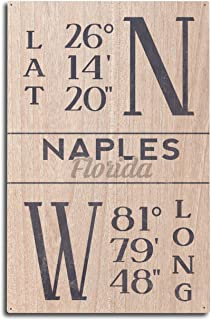 Lantern Press Naples, Florida – Latitude and Longitude (Blue) (10×15 Wood Wall..