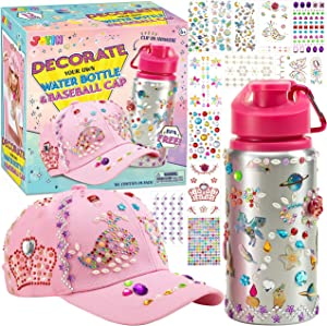 JOYIN Decorate Your Own Water Bottle and Baseball Cap with 12 Sheets Adhesive Gems Stickers, Girls DIY Art and Craft Kits, Gift for Girls, Fun Creative DIY Arts & Crafts Activity for Kids