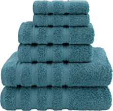 American Soft Linen Bathroom Towel Set, Bath Sheets for Maximum Softness, Cotton, Colonial Blue, 6 Piece Towel Set