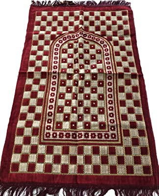 Islamic Luxury Velvet Islamic Prayer Rug Janamaz Sajjadah Muslim Namaz Seccade Turkish Prayer Rug (Red)