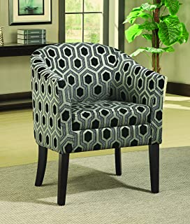 Charlotte Hexagon Patterned Accent Chair Grey and White