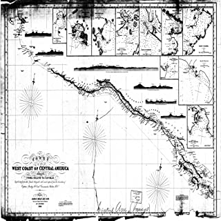 Vintography c.1856 18 x 24 Reproduction Old Map Chart Nautical Chart The West Coast Central America Other NOAA 1196