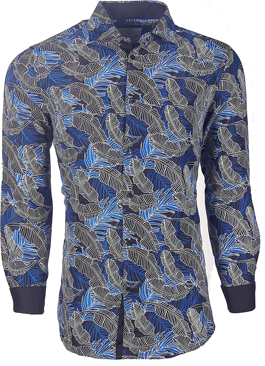 Suslo Couture Men's Floral Designer Printed Long Sleeve Casual Wrinkle-Free Party Button Down Slim Fit Dress Shirts