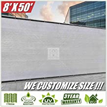 ColourTree 8' x 50' Grey Fence Privacy Screen Windscreen, Commercial Grade 170 GSM Heavy Duty, We Make Custom Size