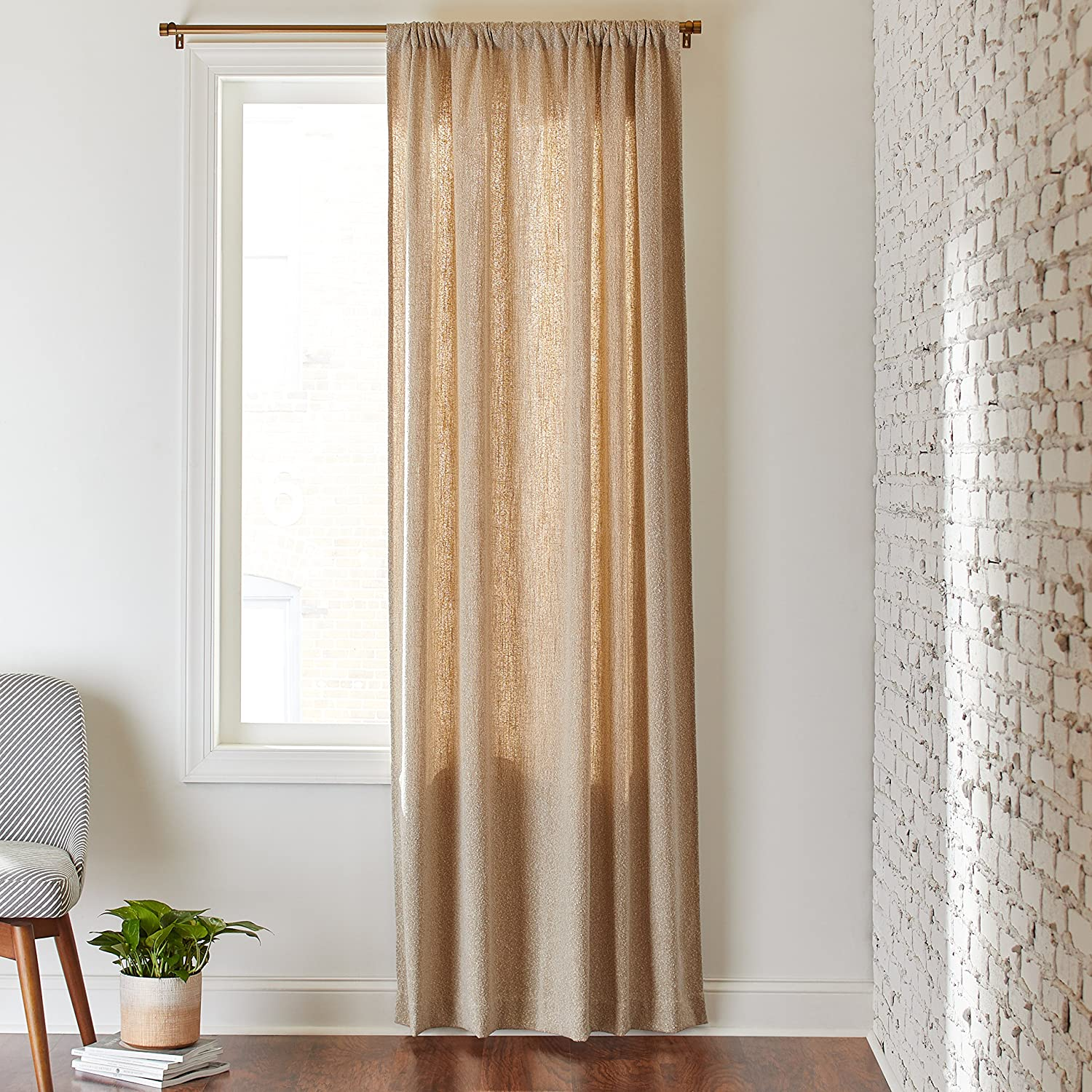 Rivet Mid-Century Modern Tweed Linen Blend Curtain, One Panel,  52  x 84 , Rod Pocket, Cream Pebble
