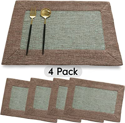 WarmTide Rectangular Placemats Set of 4 Cotton Linen Material Eco-Friendly Anti-Skid Washable Dining Table Mats 11.8x17.7 Inches for Kitchen, Coffee, Dinner Parties, Weddings, Showers and Everyday Use