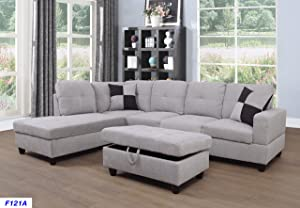 Beverly Fine Furniture Left Facing Linen Russes Sectional Sofa Set With Ottoman, Flannelette Grey White