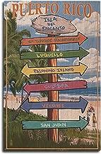 Lantern Press Isla del Encanto, Puerto Rico - Destinations Sign (10x15 Wood Wall Sign, Wall Decor Ready to Hang)