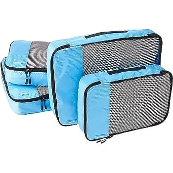 AmazonBasics 4 Piece Packing Travel Organizer Cubes Set - 2 Medium and 2 Large, Sky Blue