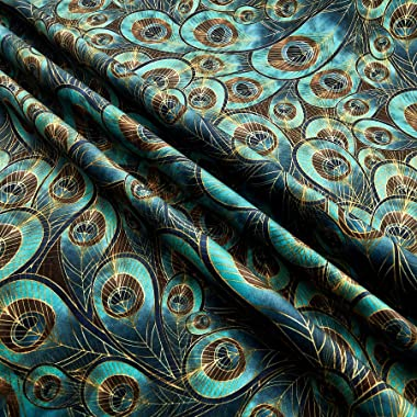 Morgan Fabrics Morgan Peacock Feather Printed Velvet, Yard, Teal