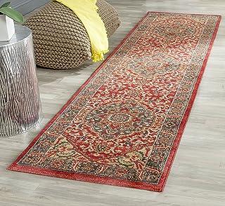 Tapis tapis de passage d'intérieur traditionnel tissé , collection Mahal, MAH621, en bleu marine / rouge, 66 X 244 cm pour...