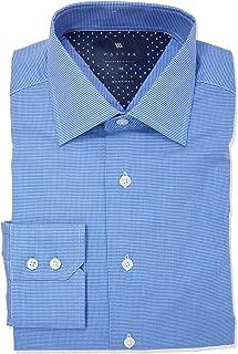Wayver Blue Twill Houndstooth Business Shirt-Blue