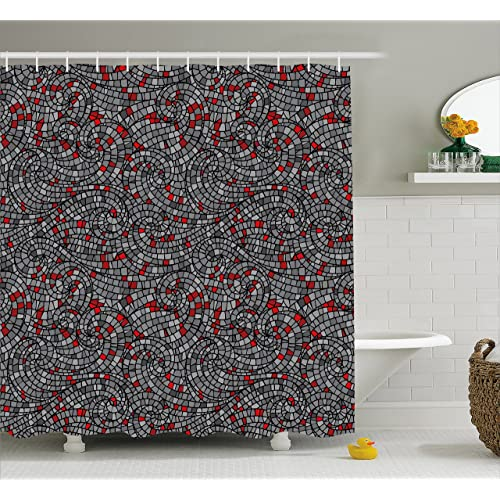 Ambesonne Geometric Shower Curtain By Modern Mosaic Style Square Shaped Swirls Rounds Circles Artwork