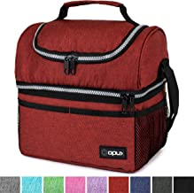 Insulated Dual Compartment Lunch Bag for Men, Women | Double Deck Reusable Lunch Box Cooler with Shoulder Strap, Leakproof Liner | Medium Lunch Pail for School, Work, Office (Heather Red)