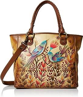 Women's Genuine Leather Large Classic Tote Bag | Hand Painted Original Artwork