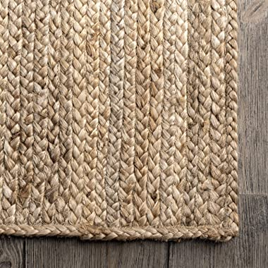 "nuLOOM Rigo Hand Woven Farmhouse Jute Runner Rug, 2' 6"" x 6', Natural"