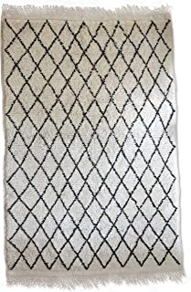 Original Berber Beni Ourain Rug - Handwoven 100% Wool - 7.2x5 ft - White and Black, Moroccan Rug, for Classic, Contemporary and Modern Interior, Oriental Carpet, Diamond Pattern, Handmade