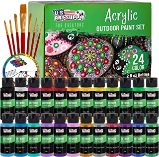 U.S. Art Supply Professional 24 Color Set of Outdoor Acrylic Paint in 2 Ounce Bottles, Plus a 7-Piece Brush Kit - Vivid Co...