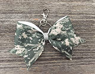 Digital Camouflage Camo Cheer Bow Keychain
