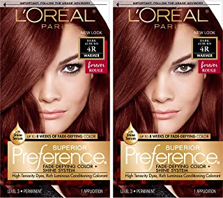 L'Oreal Paris Superior Preference Fade-Defying + Shine Permanent Hair Color, 4R Dark Auburn, 2 Count Hair Dye