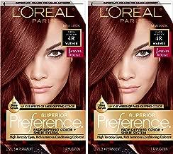 L'Oreal Paris Superior Preference Fade-Defying + Shine Permanent Hair Color, 4R Dark Auburn, 2 Count Hair Dye