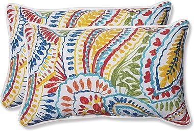 """Pillow Perfect 572581 Outdoor/Indoor Ummi Lumbar Pillows, 11.5"""" x 18.5"""", Multicolored"""