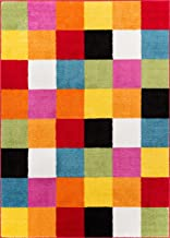 Well Woven StarBright Bright Square Modern Geometric Multi 5' x 7' Kids Area Rug, Multicolor