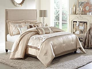 Michael Amini 10 Piece Palermo Comforter Set, King, Beige/Off-White