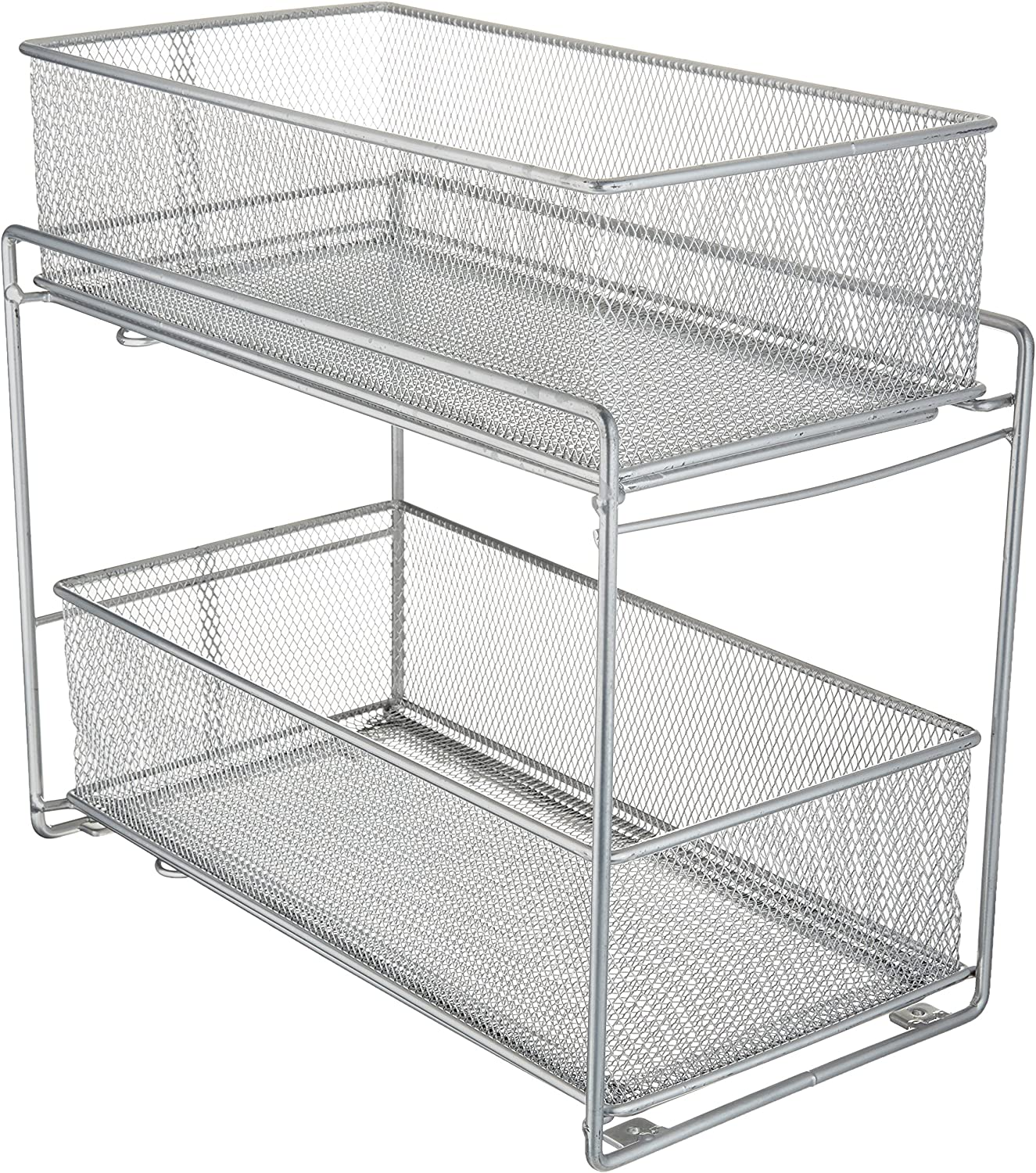 ORG 2-Tier Mesh Steel Mesh Double Sliding Cabinet Basket in Silver (1, Silver)