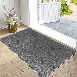 """IOHOUZE Indoor Outdoor Doormat Grey Trellis, 32"""" x 48"""", Super Absorbent, Non Slip, Low Profile, Machine Washable, Dirt Res..."""