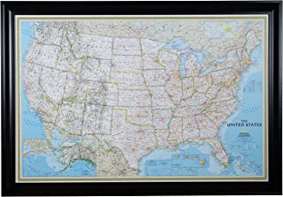 Craig Frames Wayfarer, Classic United States Push Pin Travel Map, Satin Black Frame and Pins, 24 by 36-Inch