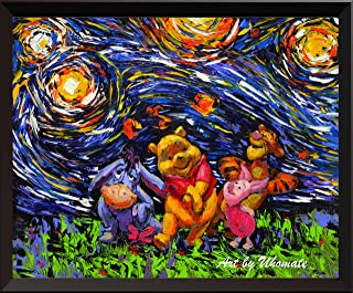 Uhomate Vincent Van Gogh Starry Night Posters Winnie The Pooh Winnie Pooh Inspired Home Canvas Wall Art Anniversary Gifts Baby Gift Nursery Decor Living Room Wall Decor A014 (8X10)