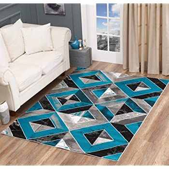 GLORY RUGS Area Rug Abstract Diamond Modern Modern Distressed Carpet Bedroom Living Room Contemporary Dining Accent Sevilla Collection 5504A (4x6, Turquoise)