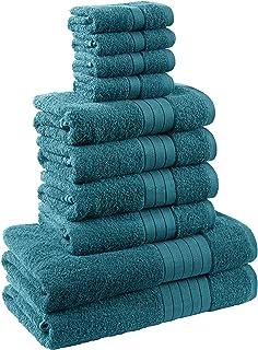 Dreamscene Ensemble cadeau de luxe Serviette de bain Bale, coton, bleu sarcelle, Lot de 10