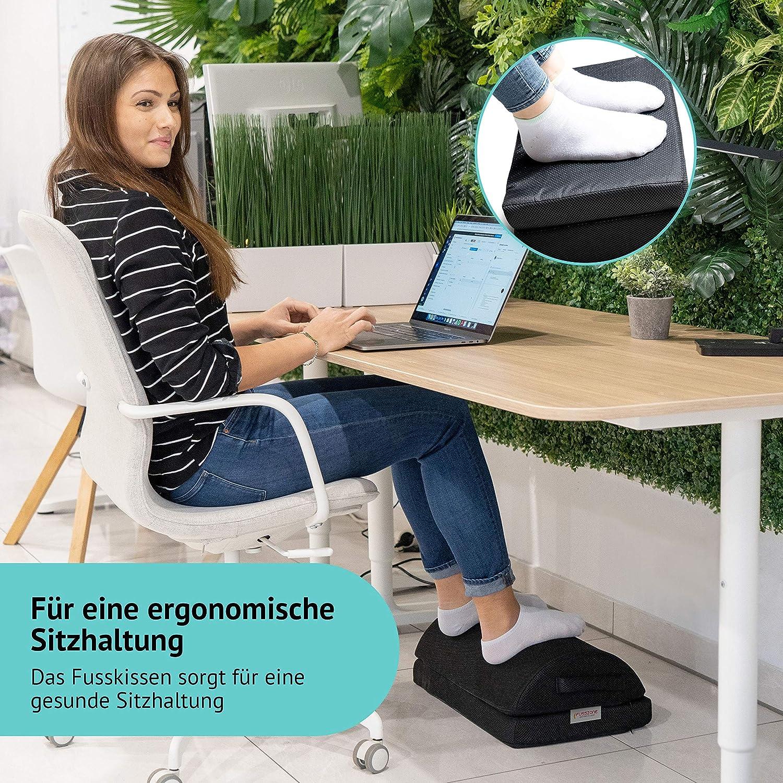 Fu/ßbank Arbeitsplatz verstellbar und rutschfest mit 2 Kissen Schwarz FUSSZONE Fu/ßkissen f/ür Homeoffice Fu/ßhocker Fu/ßst/ütze unter Tisch