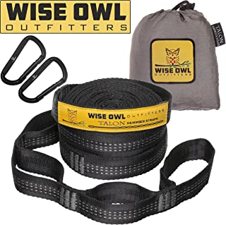 Wise Owl Outfitters XL Hammock Straps Combined 20 Ft Long, 38 Loops with 2 D Carabiners - Easily Adjustable Tree Friendly Must Have Accessories & Gear to Hang Camping Hammocks Like ENO
