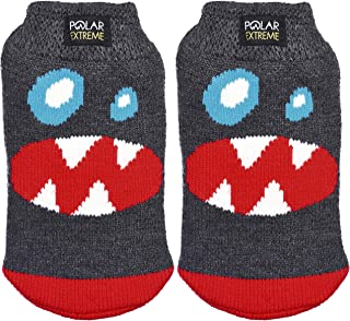 Polar Extreme Boy's Insulated Thermal Socks Gripper Dots 4 Monster Faces