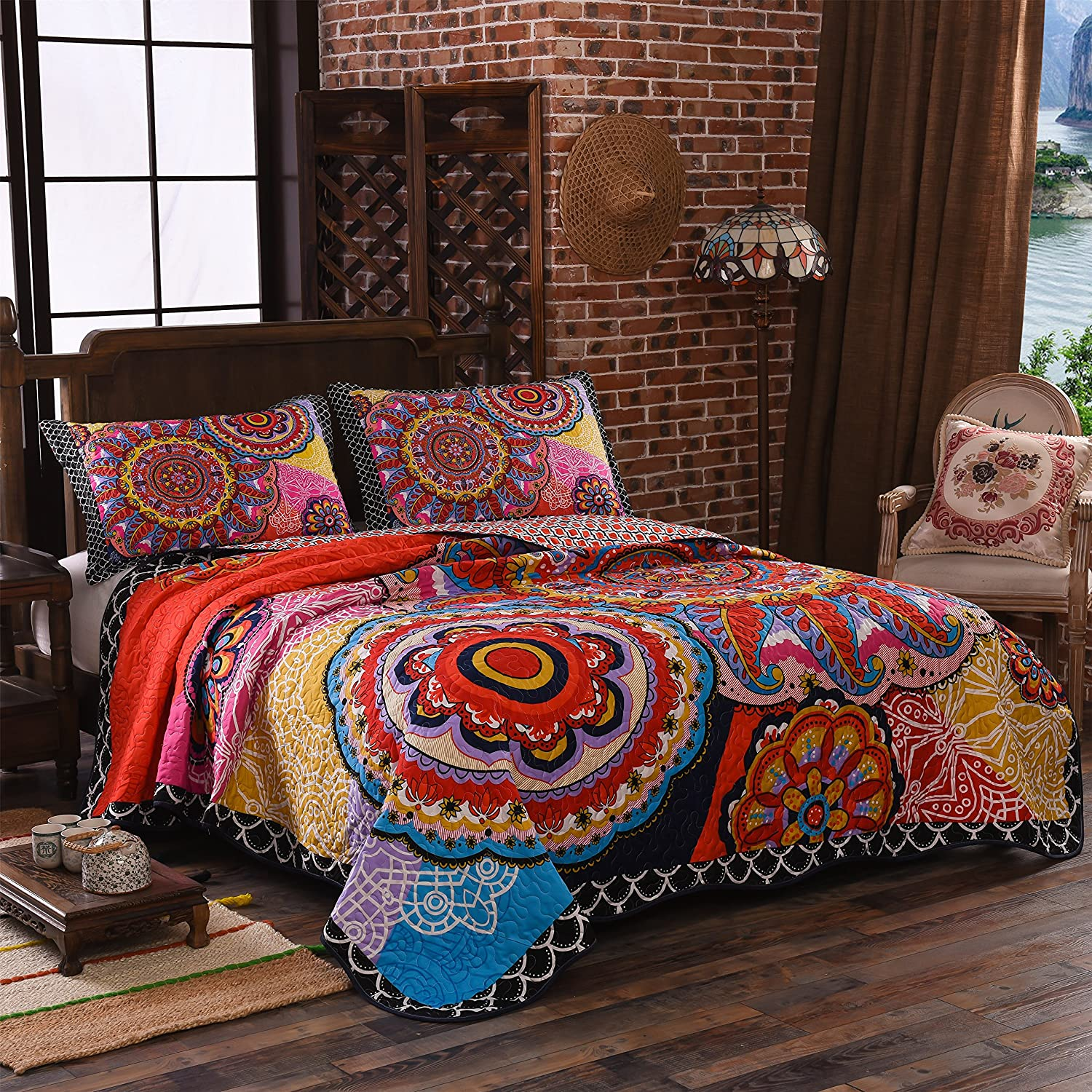 LAMEJOR Quilt Set Queen Size Tropical Bohemian Pattern Reversible Comforter Set 3-Piece Bedspread Coverlet Set Microfiber color orange