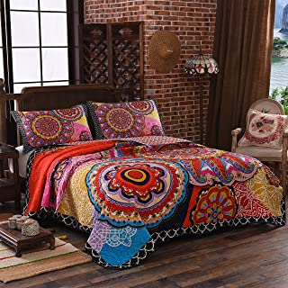 LAMEJOR Quilt Set Queen Size Tropical Bohemian Style Mandala Pattern Reversible Comforter Set 3-Piece Bedspread Coverlet Set Microfiber Color Orange