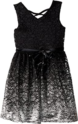 Us Angels Lace Knit Dress w/ Foil at Bottom (Big Kids)