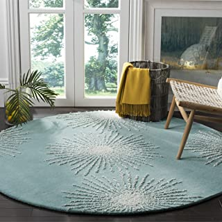 Safavieh Soho Collection SOH712T Handmade Fireworks Light Teal and Multicolored Premium Wool Round Area Rug (6' in Diameter)