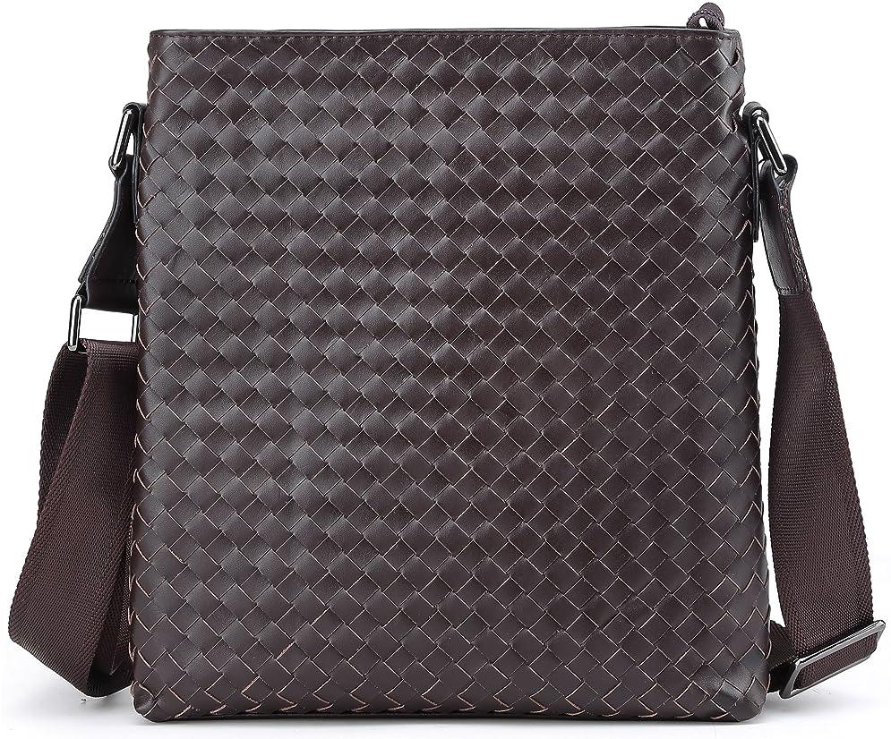 報奨金投げる退屈な[(チョウギュウ) 潮牛] メッシュ 本革 メンズ ショルダーバッグ 斜め掛け iPad対応 レザー イントレチャート 手作り 鞄