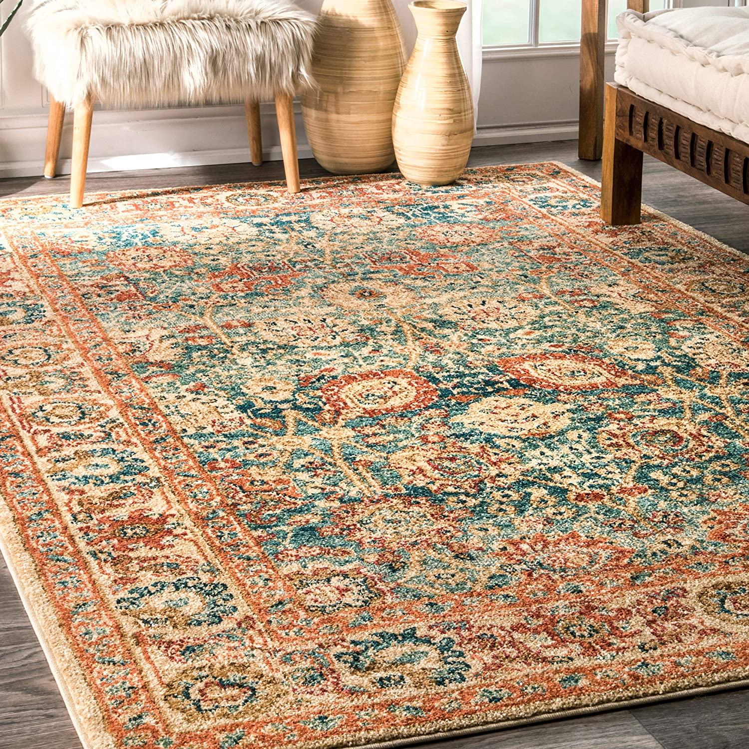nuLOOM Max 45% OFF Lorna Persian Floral Area Beige 4' Fort Worth Mall x 6' Rug