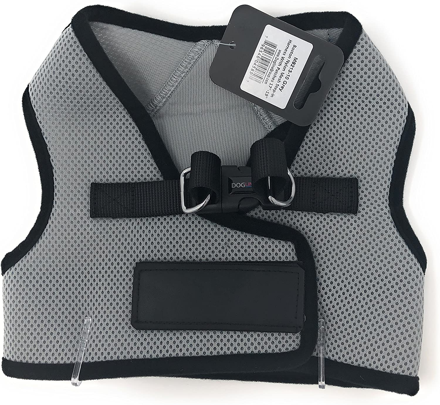 Dogline Mesh Harness Vest   Harness with Patches 1719 in   Charcoal Grey