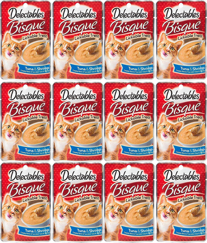Hartz Delectables Lickable Treat Bisque Tuna and Shrimp (12 Pack), 1.4 oz