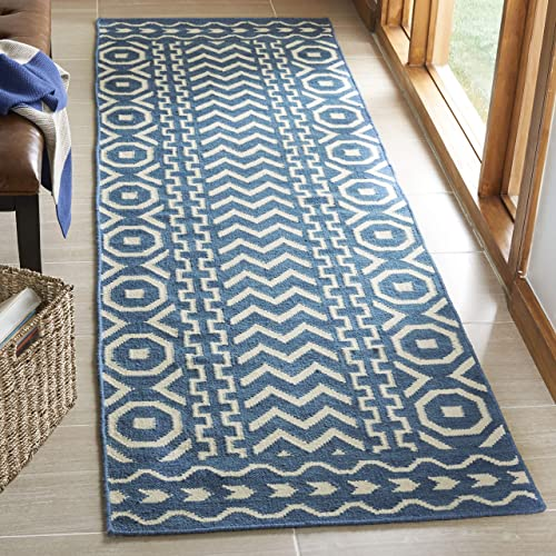 Safavieh Dhurries Collection DHU572A Hand Woven Dark Blue and Ivory Premium Wool Runner (2'