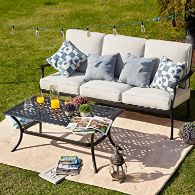 LOKATSE HOME Outdoor Loveseat 3-Seater Sofa Chair Patio 2-Piece Furniture Cushioned Bench with Rectangular Coffee Table, Beig