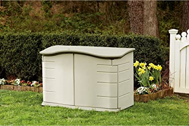Rubbermaid - FG374801OLVSS Small Horizontal Resin Weather Resistant Outdoor Garden Storage Shed, Olive and Sandstone Olive/Sa